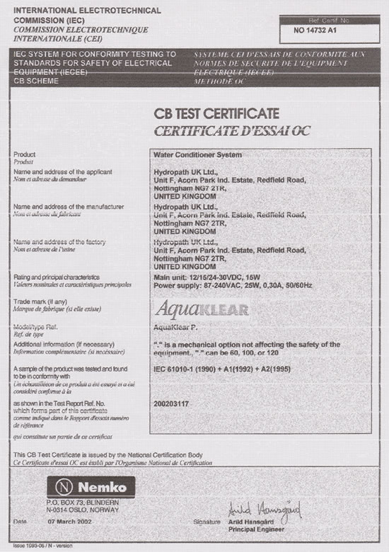 Certificado EC Hydroflow AquaKlear